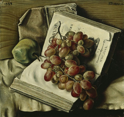 Франсуа-Эмиль Барро. Натюрморт с виноградом, яблоком и двумя книгами