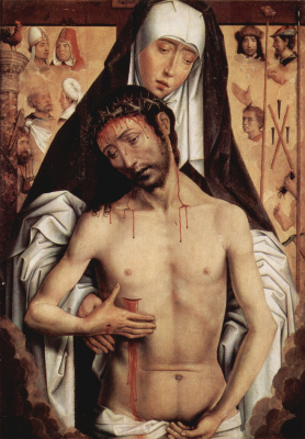 Hans Memling. A grieving mother with a dead Christ