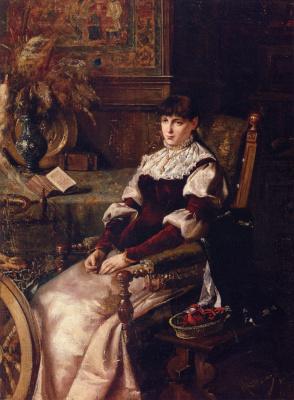 Михай Либ Мункачи. Женщина с рукоделием и прялкой