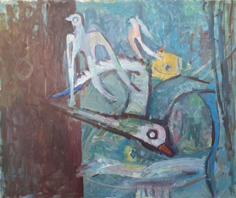 Vladimir Miski-Oglu. Fruit Vase and Flying Seagulls