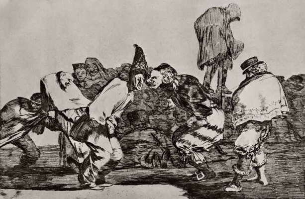 """Francisco Goya. A series of """"Disparates"""", sheet 14: carnival nonsense"""