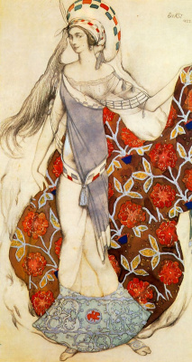 "Lev Samoilovich Bakst (Leon Bakst). Dancer. Costume design for the ballet ""the Confused Artemis"""
