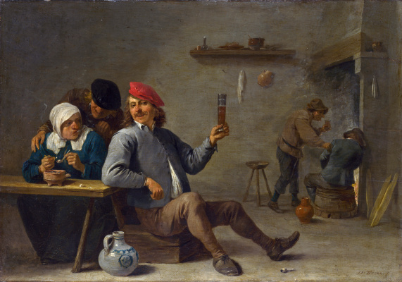 David Teniers the Younger. A man with a glass and an old woman with a pipe