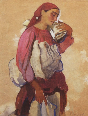 "Zinaida Serebryakova. Peasant woman with rolls of canvas on shoulder and in hands. Study for painting ""canvas Whitening"""