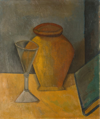 Pablo Picasso. Pot, glass and book