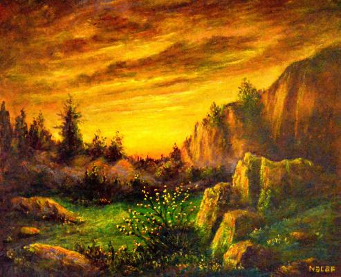 Наджаф Мамедов. Закат в горах .
