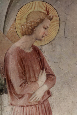 "Fra Beato Angelico. Angel of the Annunciation. Fragment of the fresco ""The Annunciation with St. Dominic"" of the monastery of San Marco, Florence"