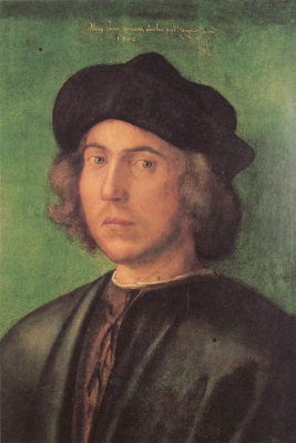 Albrecht Durer. Portrait of young man on green background