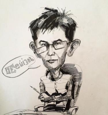 Рамазан Пейзов. Карикатура, художник Найманов Бауыржан