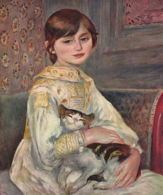 Pierre-Auguste Renoir. Portrait of Mademoiselle Julie Manet with a cat