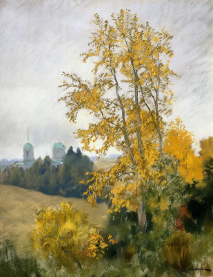 Isaac Levitan. Autumn landscape with Church