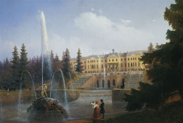 Ivan Aivazovsky. View of the Grand Cascade and Grand Peterhof Palace