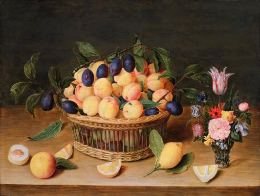 Якоб ван Хюльсдонк. Натюрморт с цветами и фруктами