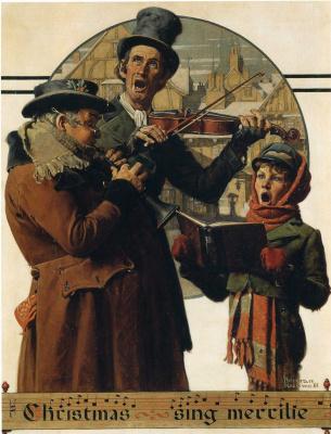 Norman Rockwell. Christmas trio