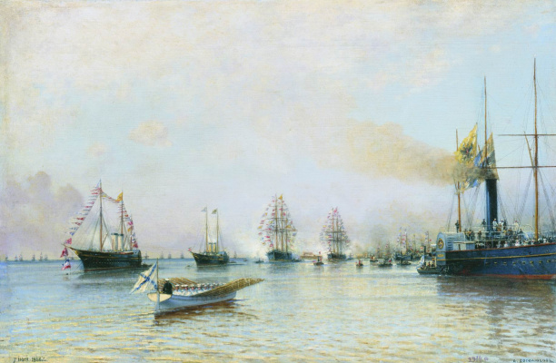 Alexey Petrovich Bogolyubov. The parade of ships of the Baltic Fleet on the occasion of the arrival of the German squadron in 1888