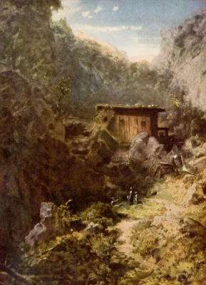 Karl Spitzweg. Mill in the mountains
