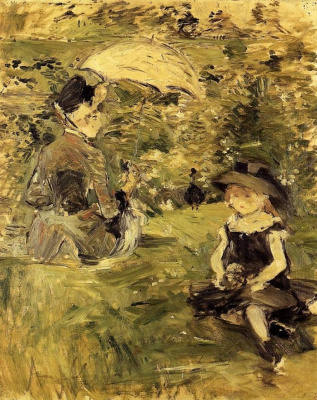 Berthe Morisot. A young woman with a child on the island