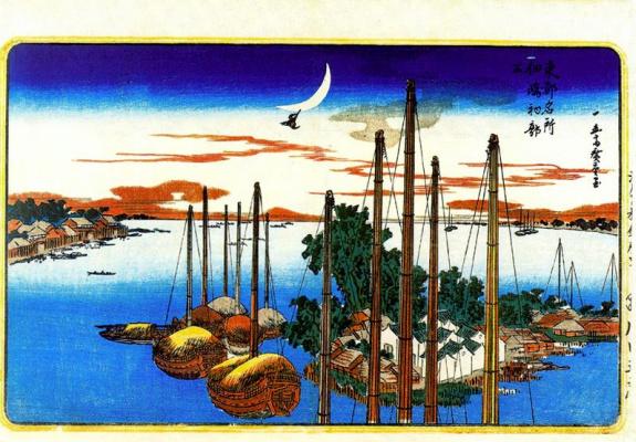 Utagawa Hiroshige. The first of the year song of the cuckoo on the island of Tsukudajima