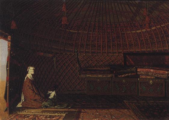 Vasily Vasilyevich Vereshchagin. The inside of the Yurt of rich Kirghiz