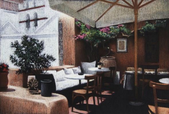 Екатерина Ивановна Киселева. Cafe on Santorini