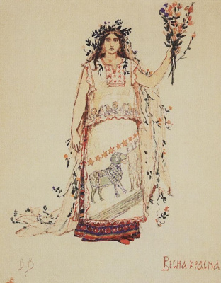 "Victor Mikhailovich Vasnetsov. Spring-Red. Costume design for the Opera N.. Rimsky-Korsakov ""The Snow Maiden"""