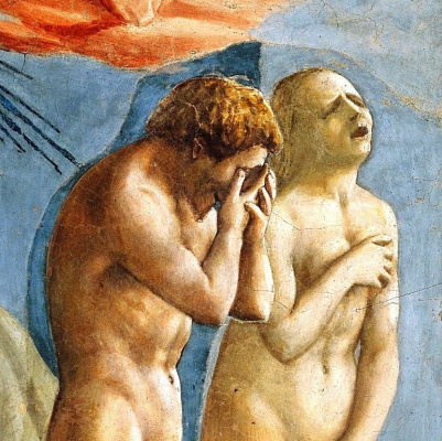 Tommaso Masaccio. Brancacci Chapel. The expulsion of Adam and Eve from the Garden of Eden. Fragment