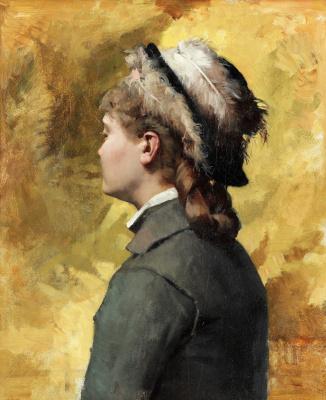 Альберт Густав Аристид Эдельфельт. Молодая женщина в сером. 1878