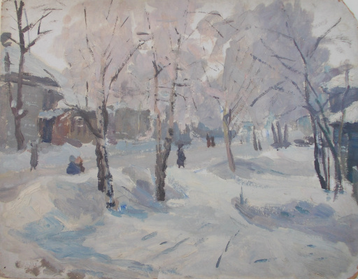 Nina Vasilievna Sedova. Apple trees, Winter. Double sided.