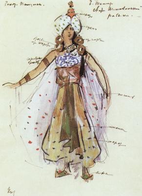 """Konstantin Korovin. Slave of the retinue of the Queen of Shemakha. Costume design for the Opera N.. Rimsky-Korsakov """"the Golden Cockerel"""""""
