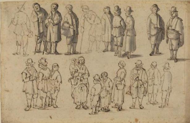 Ян Порселлис. Эскизы изображений крестьян