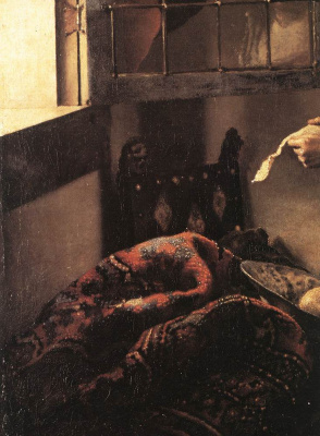 Jan Vermeer. Girl a letter at an open window. Fragment