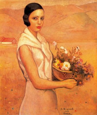Антонио Бискуерт. Брюнетка с корзиной цветов