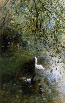 Willem Maris. Ducks and a Swan near the shore