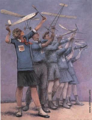 Samuil Yakovlevich Adlivankin. Competition of young model airplanes (sketch for the picture)