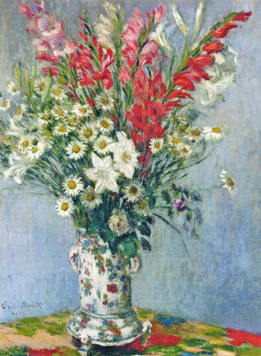 Claude Monet. A bouquet of gladioli, lilies and daisies