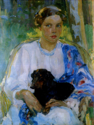 Alexander Murashko. The girl with the Dachshund