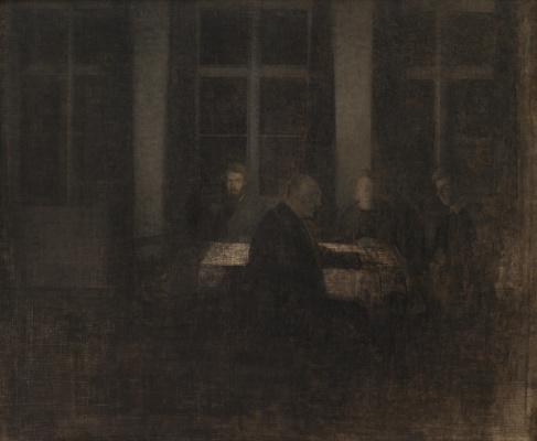 Vilhelm Hammershøi. Evening in the living room