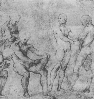 "Raphael Santi. Sketch for the fresco ""Dispute of the Holy sacrament."" The sketches of Nude figures"