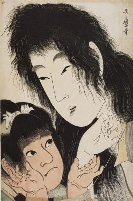 Kitagawa Utamaro. Yamauba and Kintaro wound thread for a kite