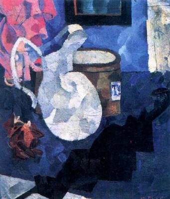 Иван Альбертович (Жан) Пуни. «Натюрморт. Кувшин, черный зонтик и шляпная коробка» 1910