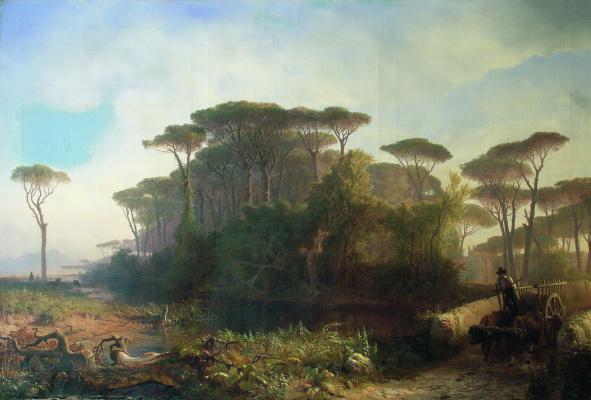 Lev Feliksovich Lagorio. Italian form. The landscape in the Castel fusano pine wood