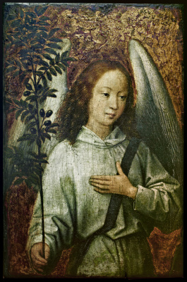 Hans Memling. Angel Holding an Olive Branch - an angel with an olive branch