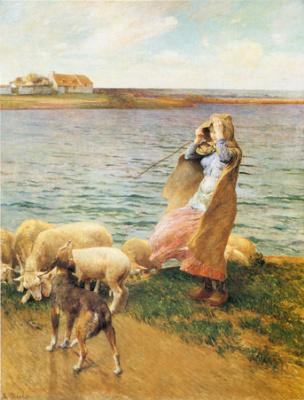 Луиджи Чиалива. Овцы у реки
