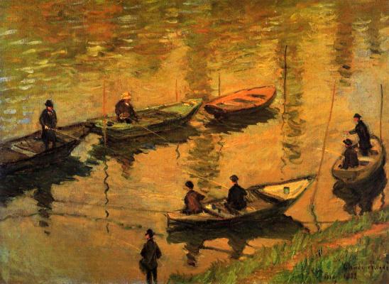 Claude Monet. Fishermen on the Seine Poissy under