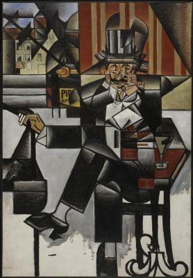 Juan Gris. Man in cafe