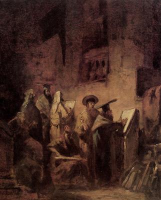 Karl Spitzweg. In the synagogue