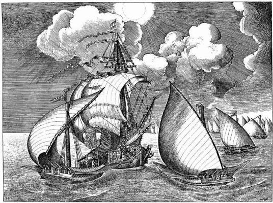 Pieter Bruegel The Elder. The warship, accompanied by sailing galleys
