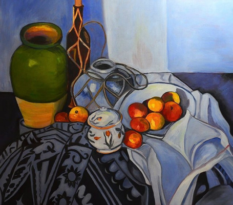 Lyudmila Fedorovna Andreeva. Still life with apples. A free copy of Paul Cezanne's painting.