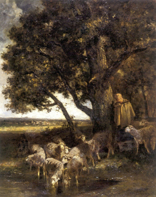 Шарль Эмиль Жак. Пастушка у воды