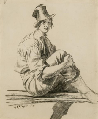 """The boatman (drawing for the painting """"Boatmen on the Missouri"""")"""